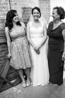 The bride with her mother and sister.